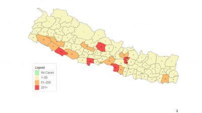काठमाडौंसहित यी हुन् 'रेड जोन'मा परेका ६ वटा जिल्ला