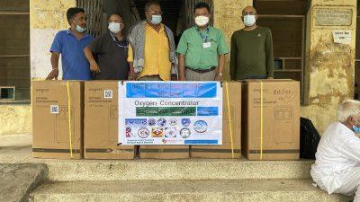 स्कटल्याण्डका नेपालीद्वारा नारायणी अस्पताललाई पाँच थान अक्सिजन कन्सन्ट्रेटर सहयोग